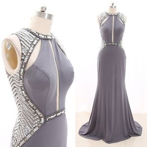 Crystal Jersey Gray Prom Pageant Gown Evening Gown